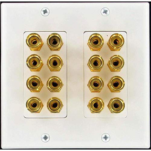 Speaker Wall Plate 16 Post for 8 Speakers and Color Coded for Home Theater System Dolby Audio Sound by Unique Products Online. Our Speaker Wall Plates Provide an Easy Professional Clean Look.