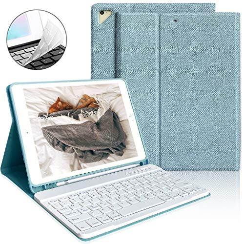 iPad Keyboard Case 9.7 with Pencil Holder for iPad 2018 6th Gen/iPad Pro 2017 5th Gen/iPad Air 2/Air1-Wireless Magnetic Bluetooth Keyboard (Lake Blue)