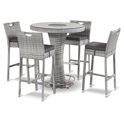 Hartman Montego - Casa Padrino - Juego de mesa y bar (polirratán, cristal, 95 cm de diámetro), color gris