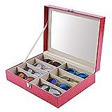Caja para Relojes Hombre Cajas para Joyas Mujer Caja Relojes Regalo Lychee Patrón de Cuero Gafas de Sol de 8 Dígitos Gafas de Sol Pantalla Estuche para Gafas 33.4 * 24.8 * 8.4Cm, Rosa