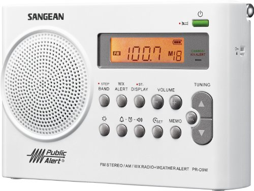 Sangean PR-D9W Portable Am/FM/NOAA Alert Radio with Rechargeable Battery, White, One Size