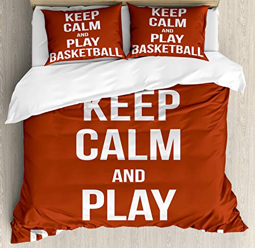 Lunarable Sports Duvet Cover Set, Keep Calm Play Basketball Words Motivational Phrase Pop Culture Poster Design, Decorative 3 Piece Bedding Set with 2 Pillow Shams, Queen Size, White Orange
