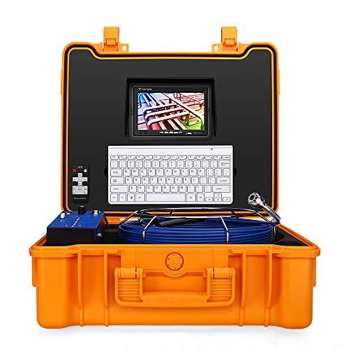 Eyoyo Videocamera di Ispezione Gasdotto per Tubi, 20M / 65Ft 1MP Drain Endoscopio Industriale Monitor Video DVR a 7 Pollici DVR LCD Lunghezza Tastiera 8G Scheda SD