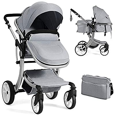 BABY JOY Baby Stroller, 2-in-1 Convertible Bassinet Sleeping Stroller, Foldable Pram Carriage with 5-Point Harness, Including Rain Cover, Net, Cushion Pad, Foot Cover, Diaper Bag (Gray)