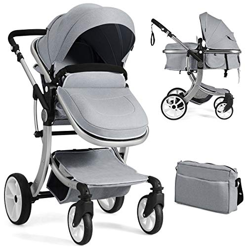 Find Discount BABY JOY Baby Stroller, 2-in-1 Convertible Bassinet Sleeping Stroller, Foldable Pram Carriage with 5-Point Harness, Including Rain Cover, Net, Cushion Pad, Foot Cover, Diaper Bag (Gray)