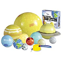 Demonstrate rotation, revolution, and orbit in 3 dimensions with this durable, washable solar system set Teach the position, order, size, and shape of the planets and sun Includes all 8 planets, Pluto, the sun and Earth's moon, repair kit, activity g...