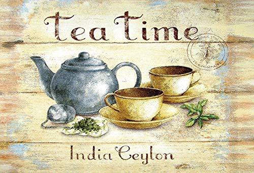 Blechschild 30x20cm Tea Time India Ceylon Tee Schild Vintage Tin Sign