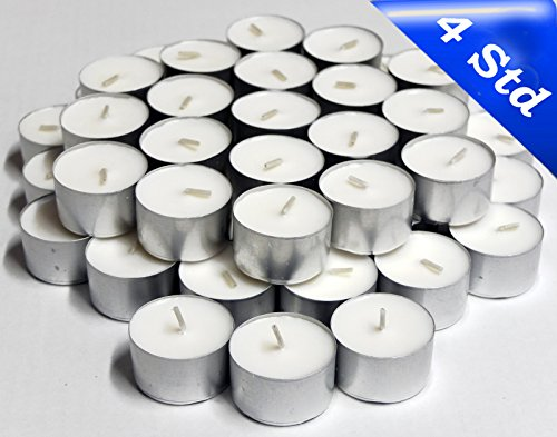 100 nk candles Gastro - Teelichte von Nordlicht-Kontor, 4 Stunden Brenndauer, Weiß, Teelicht - Qualität auch für die anspruchsvolle Gastronomie