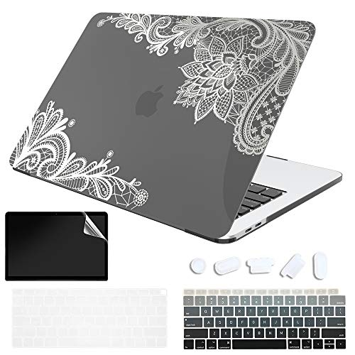 SDH for MacBook Air 13-inch 2020 Protective case, MacBook Air 13-inch A2337 M1 A2179 A1932 with Retina, New Technology Bronzing Laptop case and Keyboard Cover, Metallic Silver lace 3
