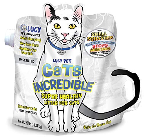 Cats Incredible Lucy Pet 25 lb Bag Clumping Cat Litter with Smell Squasher, Absorbent Natural Clay Formula Prevents Ammonia Build-Up, Unscented