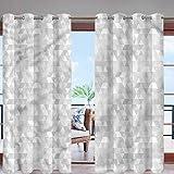 Hiiiman - Cortinas de ventana con diseño moderno y hojas de palma, para patio, pérgola, porche, terraza, lanai, jardín y cabaña