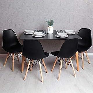 Regalos Miguel - Conjuntos - Conjunto Mesa Tower Rectangular 120 x 80 cm Negra y Pack 4 Sillas Tower Basic - Negro - Envío Desde España