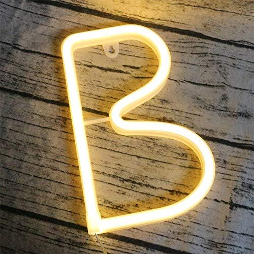 dubens LED Neon Luz nocturna, 0–9Número 26Letra Luz Lámpara Alfabeto iluminación nocturna Luces, batería/USB Powered, para dormitorio Navidad Fiesta Boda Decoración
