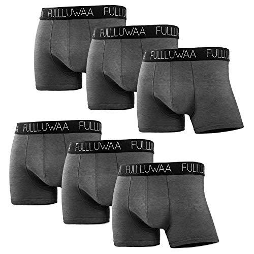 Fullluwaa Boxershorts Herren 6er Pack Retroshorts Trunks Men Unterwäsche Unterhosen Männer Baumwolle S,M,L,XL,2XL,3XL(M,DunkelGrau)