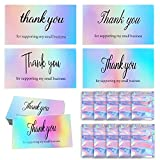 Thank You Cards Small Business,110 Pcs Holographic Mini Thank You Cards,Reflective Holographic Silver Thank You Business Card Gratitude Card Resealable Packaging for Business Owners Sellers(100pcs Cards + 10pcs Bags)