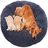 HANHAN Cama para perro con forma de donut ortopédica extra grande, mullida xxl cómoda sofá xxxl lavable, tamaño mediano jumbo de felpa, cálido colchón XL anti ansiedad nido gris oscuro