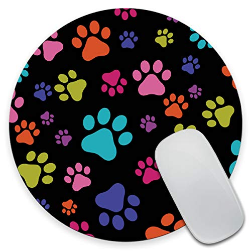 Amcove Non-Slip Round Mousepad, Multicolor Dog Paws Mouse Pad for Home, Office and Gaming Desk 7.9 x 7.9 x 0.12 Inch