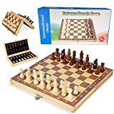 [Magnetic Design] - The magnetic chess board set is made of solid wood and has a strong magnet. Each chessman is crafted with strong magnetism to ensure no lost pieces while playing in windy weather, ideal for traveling and outside use [Portable Ches...