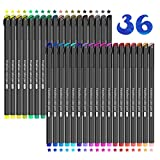 Rotuladores de punta fina, JPARR 36 lápices de colores con punta fina Lápices de colores de 0,4 mm con punta fina para dibujar y escribir bocetos, llevar un diario, notas, cómics, libros para colorear