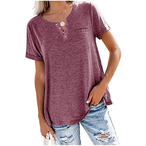 XOXSION Camiseta de verano de manga corta para mujer, cuello redondo, básica, holgada, deportiva, cómoda, monocolor, básica, informal, cuello redondo Fino L