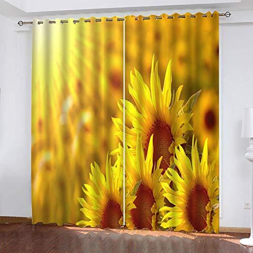 SOWLFV Cortinas Salon Modernas 2 Piezas con Ojales 132X214cm 3D Planta De Girasol Patrón Cortinas Opacas Termicas Aislantes Frio Y Calor para Infantil Dormitorio Habitacion para Ventanas