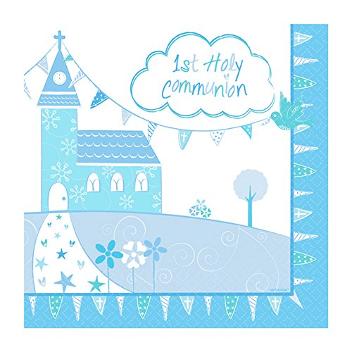 Amscan International 9901888 33 cm Communion Église Bleu Lincheon Serviettes