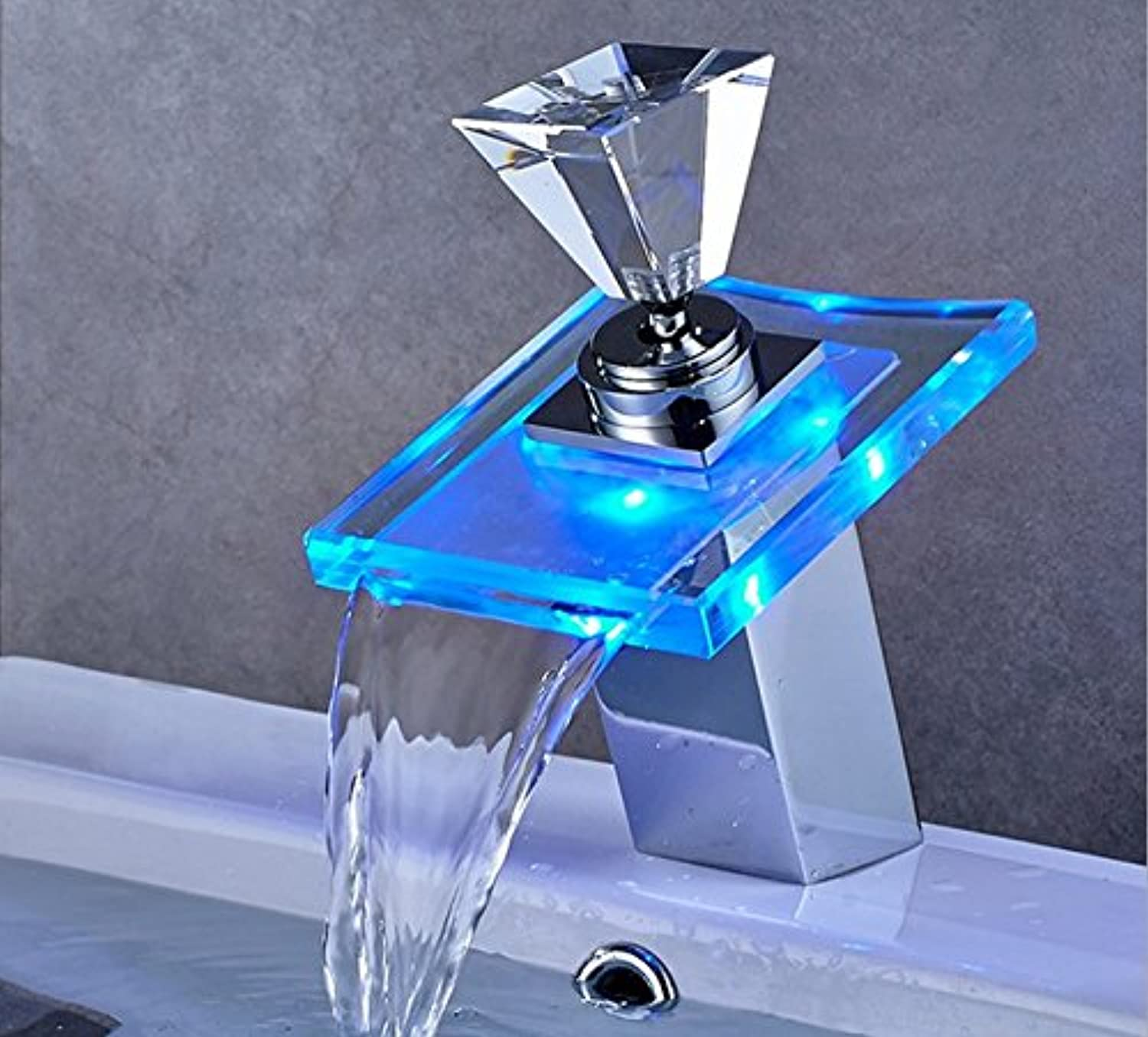 Mangeoo Faucet Led Temperature Controlled Water Faucet, Table Top Basin Glass, Waterfall Hot And Cold Water Mixing Faucet
