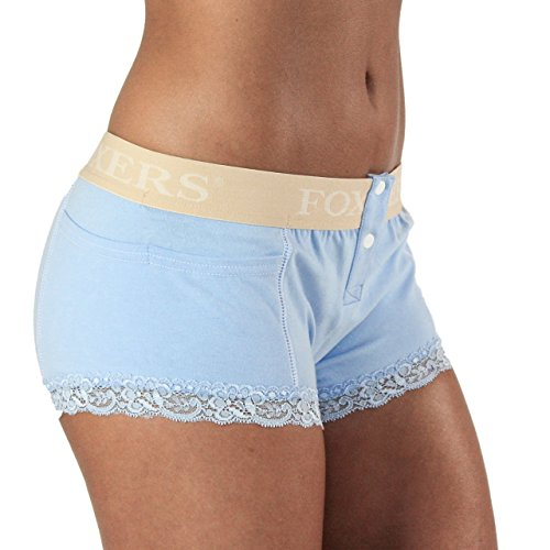Foxers Lt Blue Boxer Briefs with Nude Logo Waistband