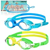 OMERIL Swim Goggles, 2 Packs Anti-Fog Leak Proof Kids Swimming Goggles. Flexible Nose Bridge, 3D Tight Fit Design, Wide View Swim Glasses with Portable Case for Children and Teens (6-14)