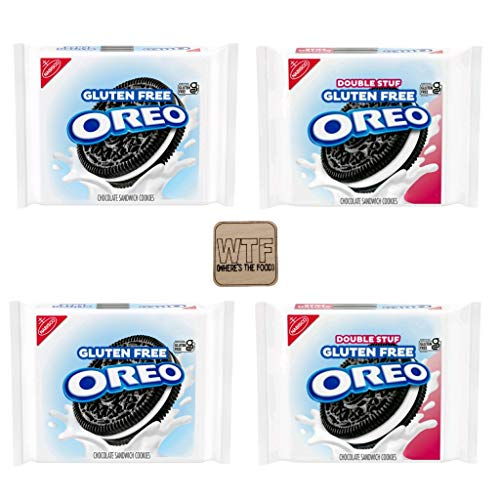 Oreo GLUTEN FREE chocolate sandwich cookies VARIETY 4 PACK  2 oreo original gluten free amp 2 oreo double stuf gluten free total of 5464 oz Includes Wood Tile Magnetic Clip with funny phrase