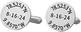925 Sterling Silver Personalized Coordinate Cuff Links Custom Made with Longitude and Latitude