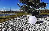 Trango 1er Set SO-003 IP44 LED-Solarleuchte in 30cm Durchmesser Weiß matt mit 3000K warmweiß LED & RGB Farbwechsel LED *SNOWY* Solarkugel Leuchte Leuchtkugel, Außenleuchte, Kugellampe, Gartenleuchte