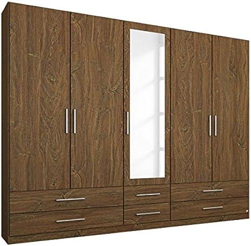 Kleiderschrank Eiche Stirling braun 5 Türen B 226cm Kinderzimmer Jugendzimmer Schlafzimmer Drehtürenschrank Spiegeltüren W he Schrank