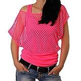 Crazy Age Frauen Partytop Sommertop Fasching Fest Netzoberteil aktueller Trend in Neonfarben-...
