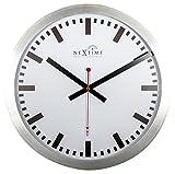NeXtime Reloj de pared - Estación de trenes 'STATION RCC', muy silencioso, radiocontrolado, blanco, redondo, ø 35 cm