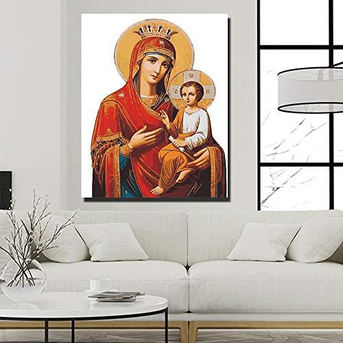 LiMengQi Cuadro en Lienzo, decoración cálida de la Sala de la Virgen María y Jesús (sin Marco) A1 30x40CM