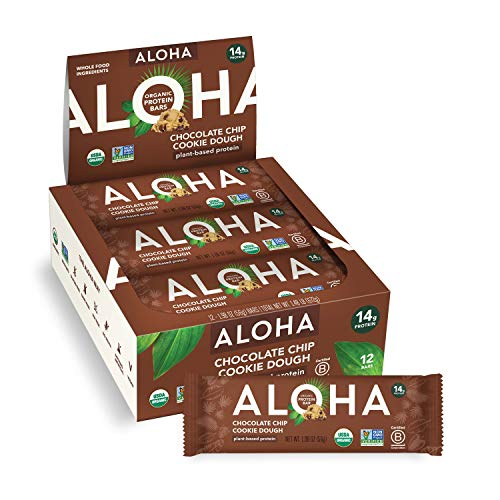 ALOHA Organic Plant Based Protein Bars - Chocolate Chip Cookie Dough - 12 Count, 1.9oz Bars - Vegan Snacks, Low Sugar, Gluten-Free, Low Carb, Paleo, Non-GMO, Stevia-Free, No Sugar Alcohols