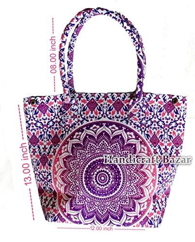 Handicraft Bazarr- Bolsas de la compra de algodón de diseño moderno, diseño floral, bohemio, étnico, para mujer, hechas a mano, de algodón, diseño de mandala, bolsa de tela, tapiz de mandala