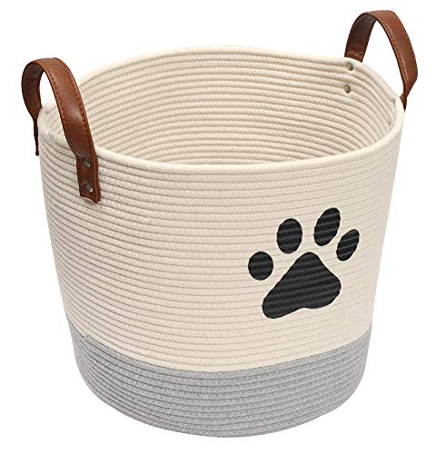 Brabtod Cesta de almacenamiento de juguetes para perros, cesta de juguetes para cachorros, cubos de perrito, cesta de lavandería, cubo de almacenamiento para mantas, alfombrillas para orinar y pañales