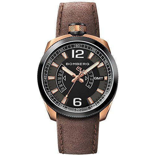 Bomberg Men's Bolt 68 45mm Brown Leather Band Swiss Quartz Watch...
