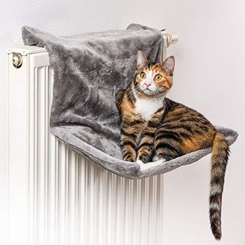 CanadianCat Company ® | Liegemulde für Katzen in grau ca. 45x26x31 cm Katzen Heizungs-Liege L