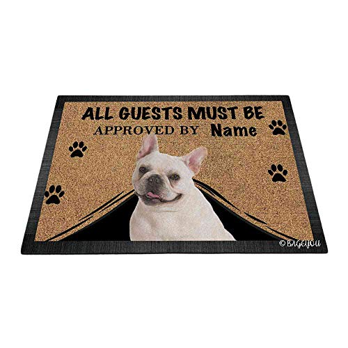 BAGEYOU All Guests Must be Approved Doormat with My Love Dog Lovely French Bulldog Puppy Welcome Floor Mat Custom Name 23.6' X 15.7'