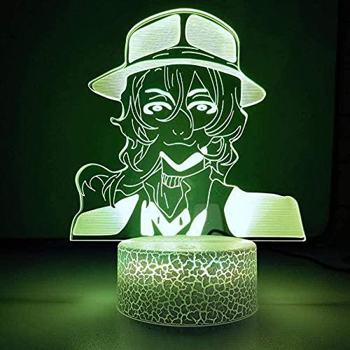 Lámpara de ilusión 3D Luz de noche LED Anime Bungo Osamu Dazai Nakahara Chuya Neighbe 7 colores Lámpara de escritorio Dormitorio Oficina Escritorio Decoración Iluminación Regalo de cumpleaños
