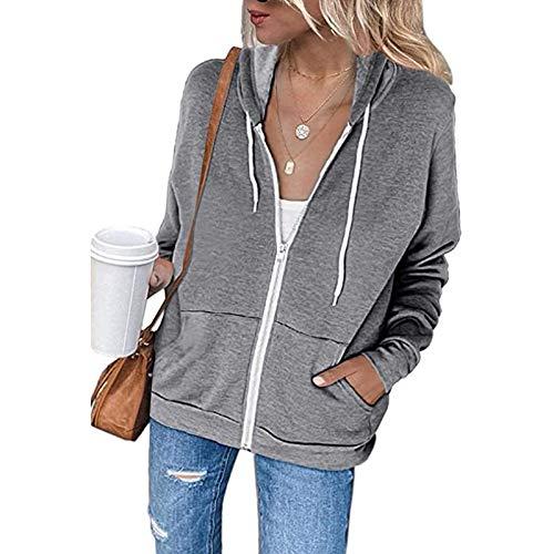 YEBIRAL Damen Sweatjacke Zip Hoodie Kapuzenjacke Langarm Pullover Oberteile Kapuzenpullover Mode Casual Sweatshirt Jacke mit Kapuze Taschen(XXL,Grau)
