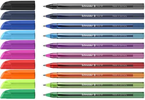 Schneider Vizz Kugelschreiber (Für leichtes und schnelles Schreiben, Gehäuse aus 94% recyceltem Kunststoff, Strichbreite M) 10 Stück