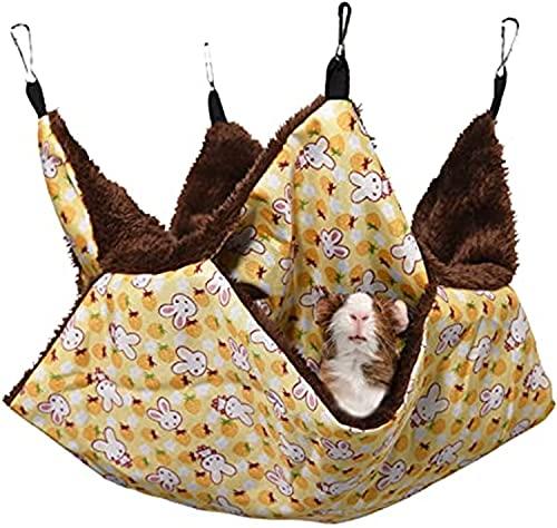 jaosn Hamaca para mascotas, 2 capas, Hamster, jaula, hámster, camas, jaula, accesorios para hurones, cobayas, chinchillas, ardillas y otros animales pequeños (amarillo)