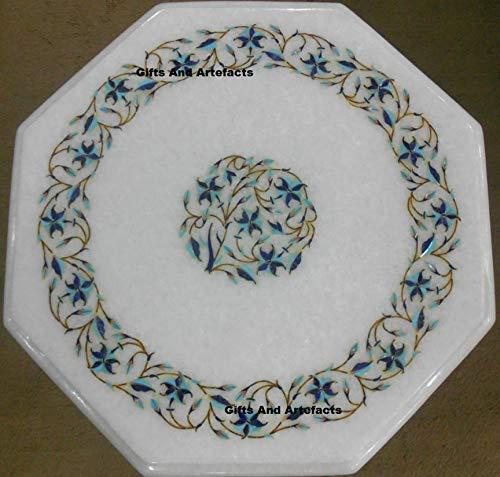 Gifts and Artefakte Ecktisch für Terrasse, achteckig, Marmor, Gartentisch, 38 cm