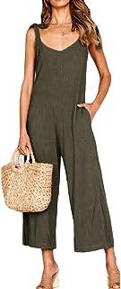 WE&energy 女性ポケット固体strappyリラックスしたバックレス夏のジャンプスーツ