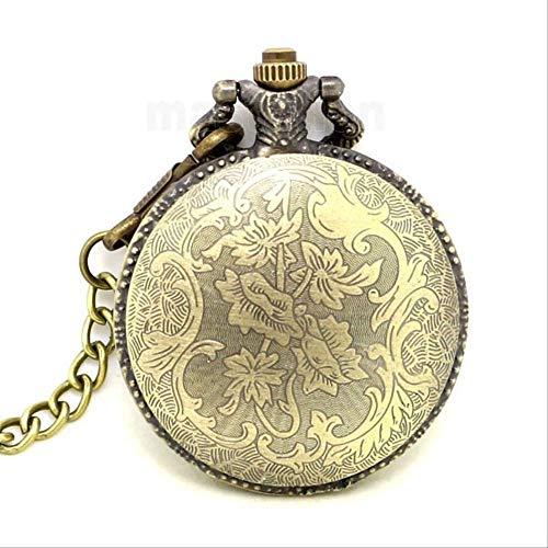 YYhkeby Relojes de Bolsillo WatchVintage de Bolsillo Nuevo Retro Antique Compass Design Relojs Cadena de Bronce para Hombre Mujeres Dial Blanco árabe nu Jialele (Color : Golden)