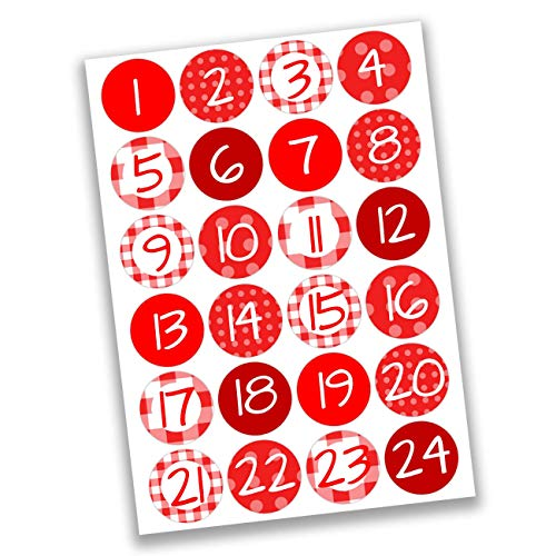 Papierdrachen 24 Adesivi con Numeri per Il Calendario dell'Avvento Rosso Classico n. 20 - Adesivi - per Creare e Decorare